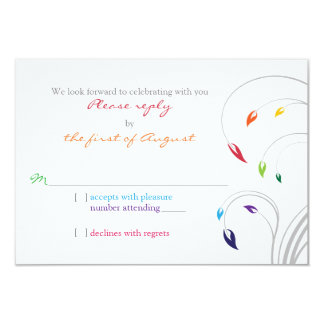 Rainbow Theme Floral Wedding RSVP Reply 3.5x5 Paper Invitation Card