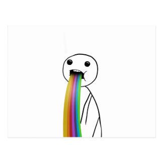 Rainbow throwing up meme postcard