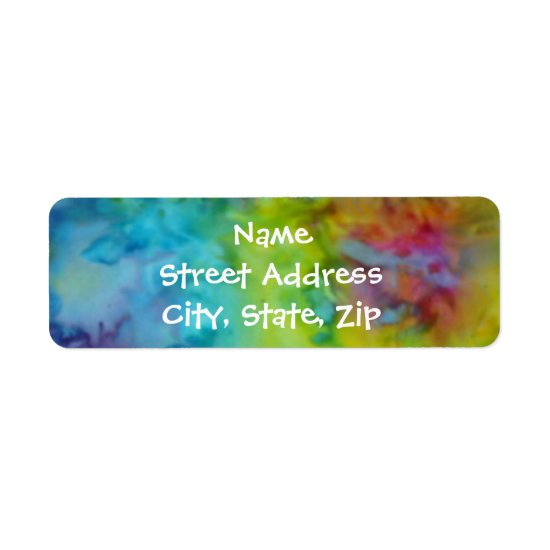 Rainbow Tie-Dye Colorful Return Address Sized Label
