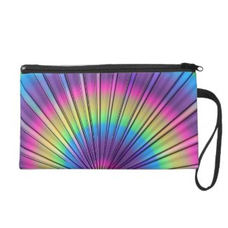 Rainbow Tie-Dye Evening Handbag with Wrist Loop Wristlet Clutches