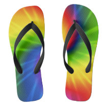 Rainbow Tie-Dye Flip Flops