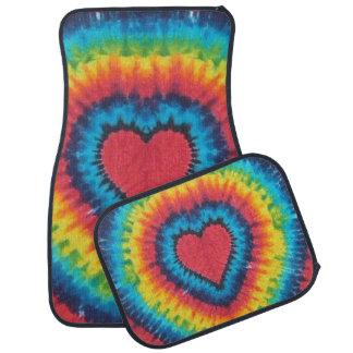 Rainbow tie dye heart floor mat