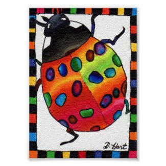 Rainbow Tie Dye Ladybug Mini Folk Art
