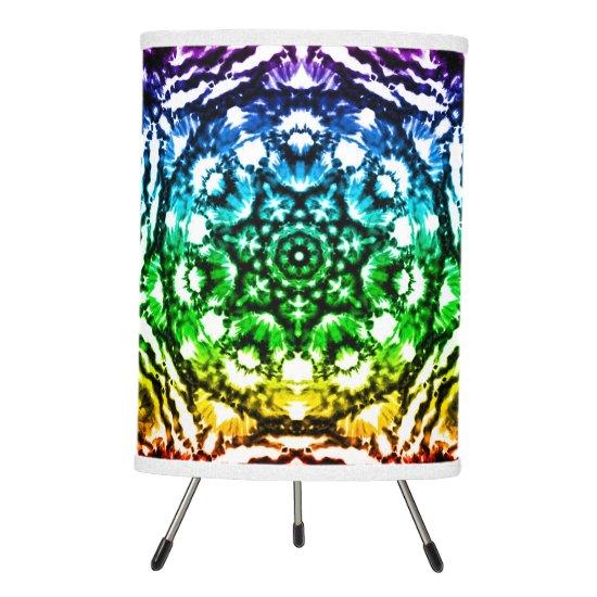 Rainbow Tie Dye Mandala Star Tripod Lamp