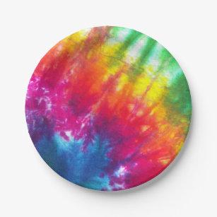 Rainbow Tie-Dye Paper Plate & Love Tie Dye Plates | Zazzle