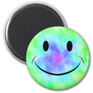 Rainbow Tie Dye Smiley Face Magnet