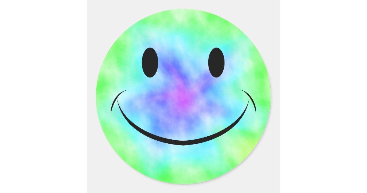 Rainbow Tie Dye Smiley Face Sticker