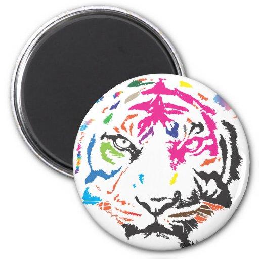Rainbow Tiger 2 Inch Round Magnet