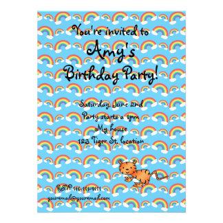 Rainbow tiger birthday invitation