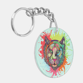 Rainbow Tiger Keychain