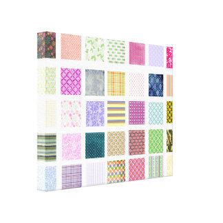 Rainbow tiled squares pattern canvas print