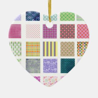 Rainbow tiled squares pattern ceramic ornament