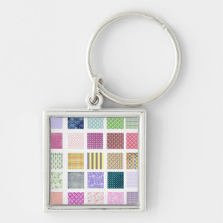 Rainbow tiled squares pattern key chains