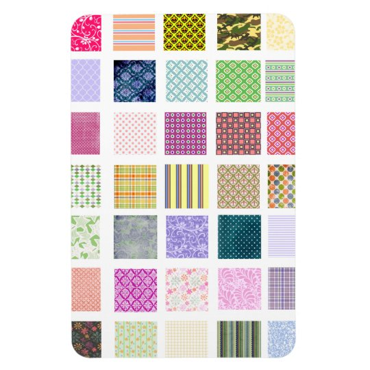 Rainbow tiled squares pattern magnet
