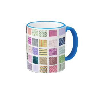 Rainbow tiled squares pattern mugs