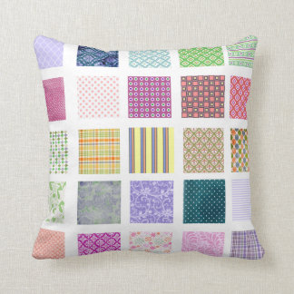Rainbow tiled squares pattern pillow