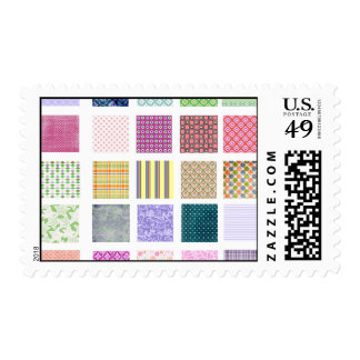 Rainbow tiled squares pattern postage stamps