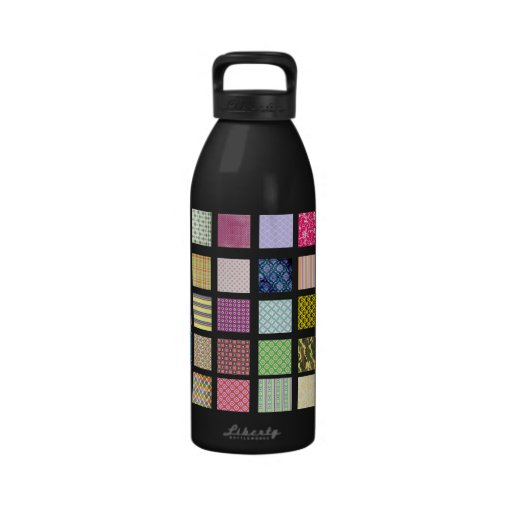Rainbow tiled squares pattern water bottle