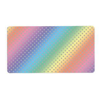 rainbow tiny gray polka dots shipping label