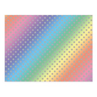 rainbow tiny gray polka dots postcards