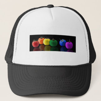 RAINBOW TOMATOES COLORFUL DIGITAL ART WALLPAPER BL TRUCKER HAT
