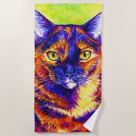 Rainbow Tortoiseshell Cat Beach Towel