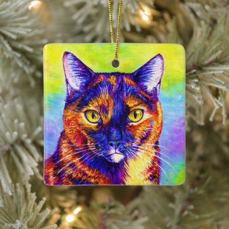Rainbow Tortoiseshell Cat Ceramic Ornament