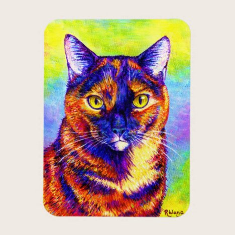 Rainbow Tortoiseshell Cat Flexible Magnet