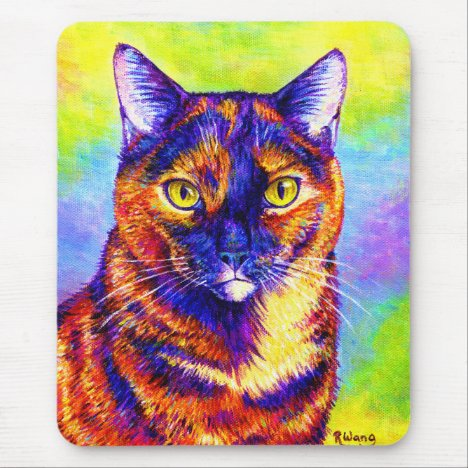 Rainbow Tortoiseshell Cat Mouse Pad