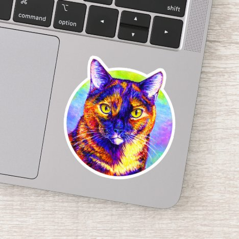 Rainbow Tortoiseshell Cat Tortie Vinyl Sticker