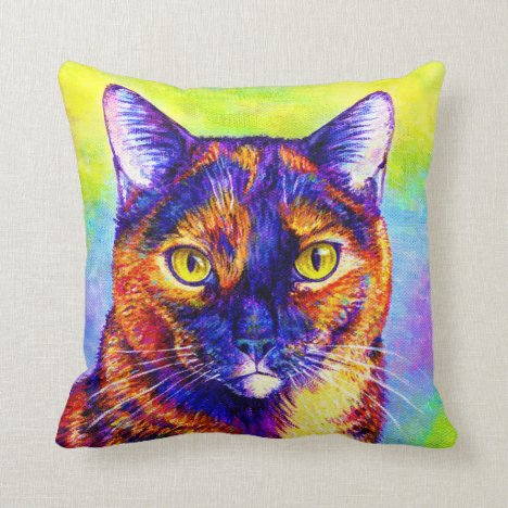 Rainbow Tortoiseshell Tortie Cat Throw Pillow