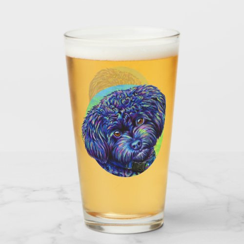 Rainbow Toy Poodle Dog Drinking Glass Cup