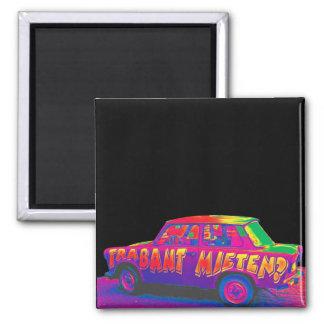 Rainbow Trabant Car, Black Back 2 Inch Square Magnet
