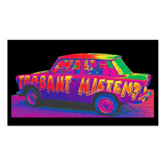 Rainbow Trabant Car, Black Back Double-Sided Standard Business Cards (Pack Of 100)