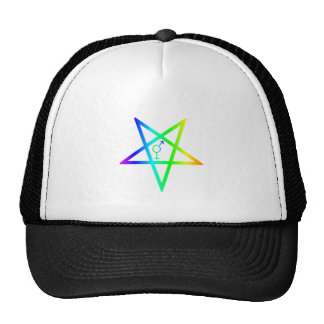 Rainbow Transgender Inverted Pentagram Trucker Hat