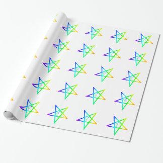 Rainbow Transgender Inverted Pentagram Gift Wrapping Paper