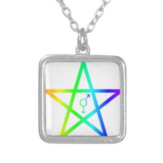 Rainbow Transgender Pentagram #2 Square Pendant Necklace