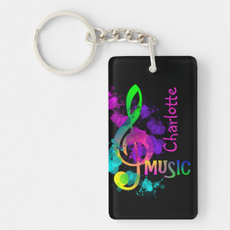 Rainbow Treble Clef Music Paint Splat Personalized Keychain