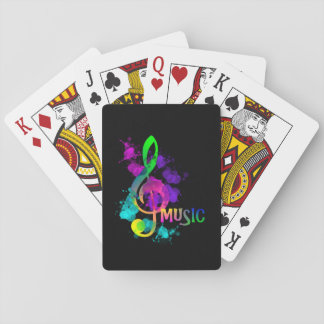 Rainbow Treble Clef Music Themed Playing Cards