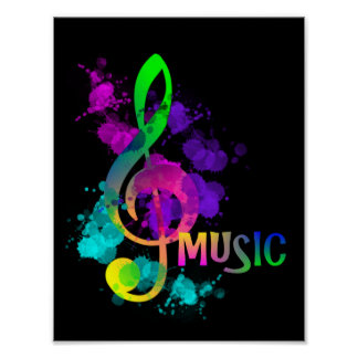 Rainbow Treble Clef Music Themed Poster
