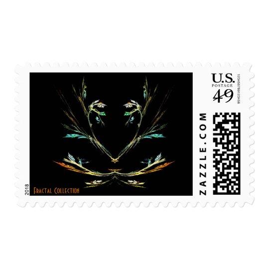 Rainbow Tree Fractal Postage Stamp