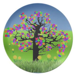 Rainbow Tree w/dandilions Plate