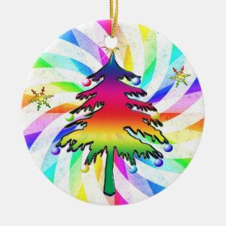 Rainbow Trees And Swirls Ornament