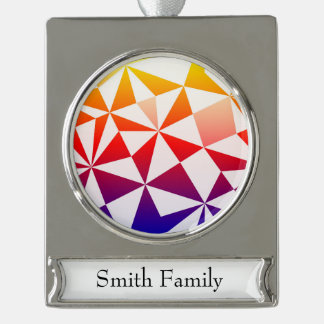 Rainbow Triangle Design Silver Plated Banner Ornament