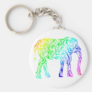 Rainbow Tribal Elephant Keychain