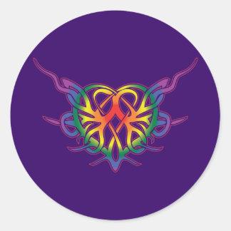 Rainbow Tribal Heart Stickers