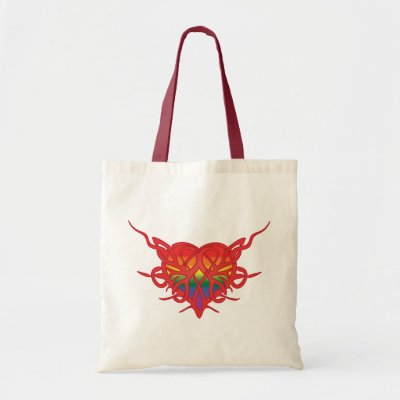 Tribal Hearts on Rainbow Tribal Heart Tote Bag  Express Your Untamed Love   Without
