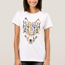 Rainbow Tribal Wolf Head (Looking Forward) T-Shirt