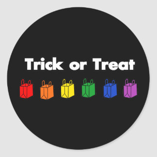 Rainbow Trick or Treat Classic Round Sticker