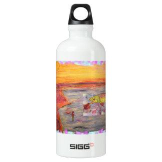 rainbow trout art aluminum water bottle